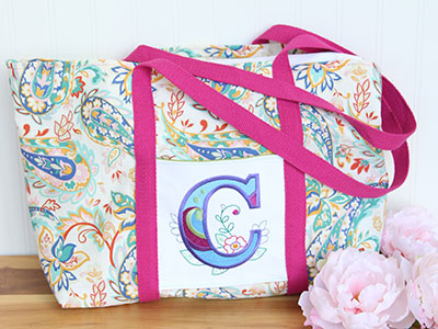 Free project instructions for monogramming with embroidery.