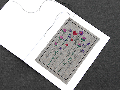 Free project instructions for creating greeting cards by combining faric and cardstock.