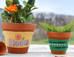 Embroidery Library - Flowerpot Cozies