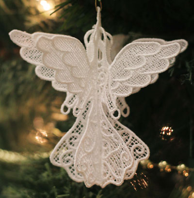 Free project instructions to embroider 3D Lace Ornaments.