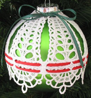 Free project instructions on how to embroider freestanding lace ornament covers.