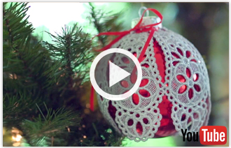 Free video with instructions on how to embroider lace ornament covers.