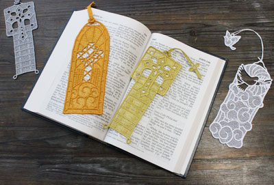 Free project instructions to embroider freestanding lace bookmarks with tassels.