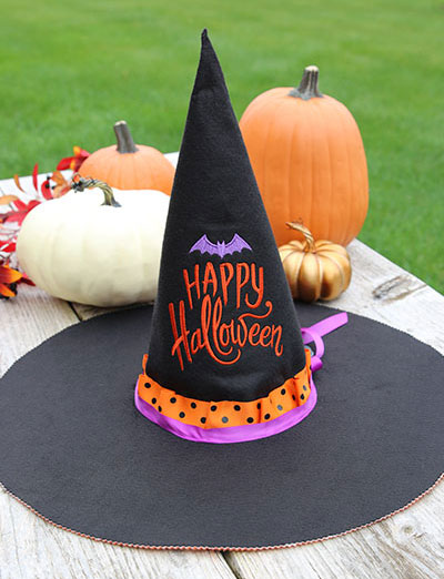 Free project instructions to create a boo-tiful witch hat.