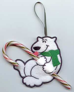 In the Hoop Machine Embroidery Candy Cane Holders