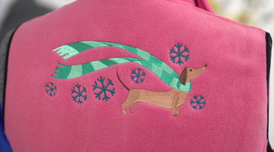 Free project instructions for embroidering on fleece.