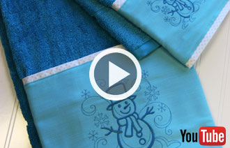 Free video with instructions on how to add embroidery to your bathroom.