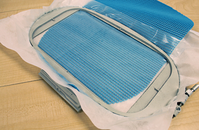 Free instructions on how to embroider on rubber waffle.