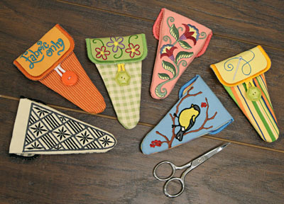 Free project instructions to make small in-the-hoop scissor cases.
