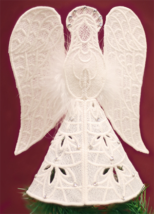 Free project instructions to make a lace angel tree topper.