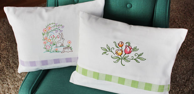 Free project instructions to embroider tea towel pillows.