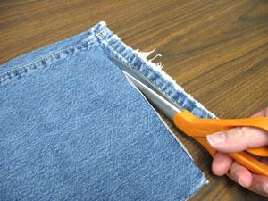 طريقة عمل مفرش صغير من بنطلون جينز   مفرش صغير بواسطة بنطلون جينز