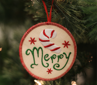 Free project instructions to make In-the-Hoop Christmas Ornaments