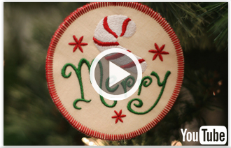 Free video with instructions on how to embroider Christmas ornaments, in-the-hoop.