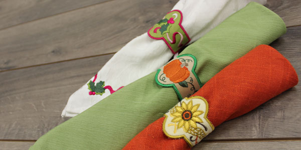 Free project instructions to embroider in-the-hoop napkin rings.