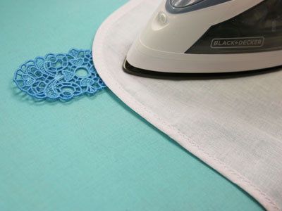 Free project instructions on how to embroider freestanding lace bookmarks with ribbon.