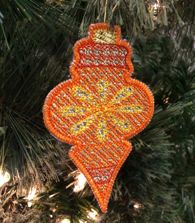 Free project instructions to embroider mylar ornaments, in-the-hoop