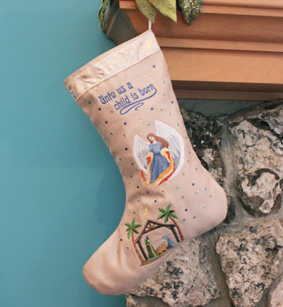 Free project instructions for embroidering a Christmas Story Stocking.