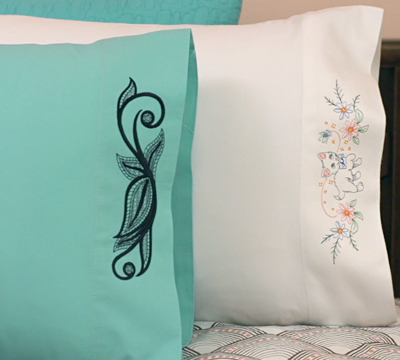 Free project instructions to embroider on pillowcases.