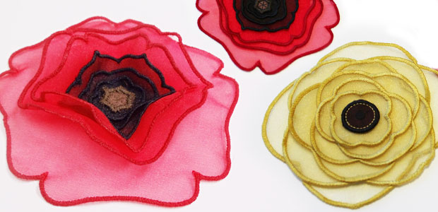 Free project instructions to embroider 3D Organza Applique (In-the-Hoop) designs.