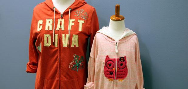 Free project instructions for embroidering on sweatshirts with split applique.