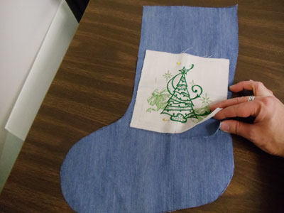 Free project instructions to embroider a rag quilt stocking.