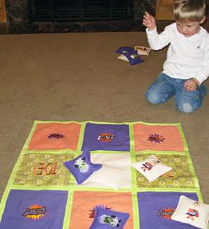 Free project instructions to make a tic tac toe toss game with machine embroidery designs.