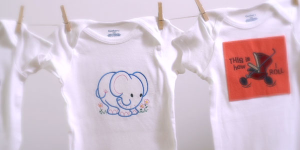 Free project instructions on how to hoop and embroider onesies.