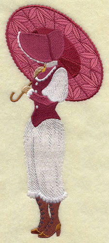 Free project instructions for stitching a Battenburg lace skirt to an Umbrella Girl machine embroidery design.