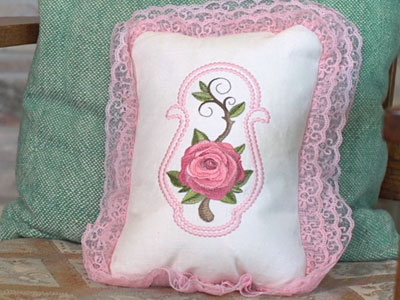 Free project instructions to create machine embroidery candlewicking.