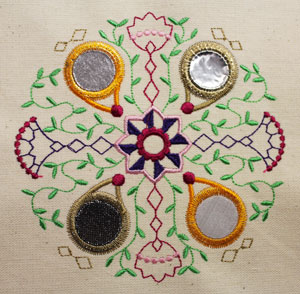 Free project instructions for an embroidering Kashmir mirror art machine embroidery designs.