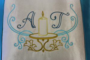 Monogramming and personalizing towels for a wedding gift