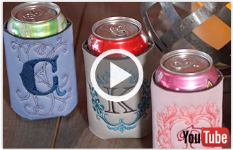 Free video with instructions on how to embroider on can and bottle cozies.