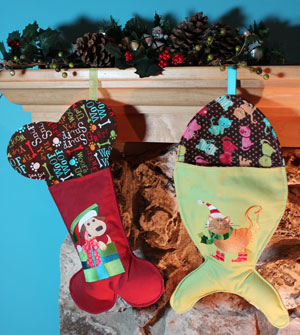 Free project instructions to make a fish-shaped Christmas stocking for a pet cat.