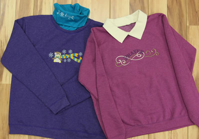 Free project instructions for adding knit collars to sweatshirts.
