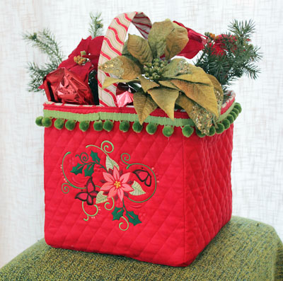 Free project instructions to embroider a festive flower bag.