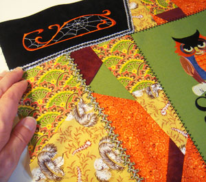 Free project tutorial for a crazy patchwork trick-or-treat tote bag.
