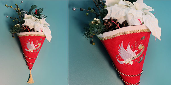 Free project instructions to create a Christmas Cone Wall Hanging.