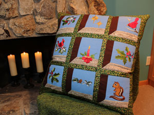 Free project instructions to make a quilted attic window pillow.