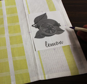 Free project instructions to make a placemat out of a towel.