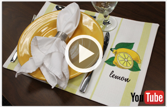 Free video with instructions on how turn a tea towel into a placemat.