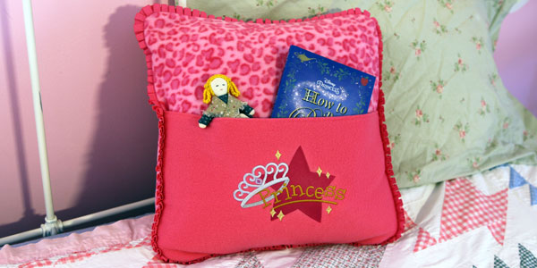 Free project instructions to create a cozy fleece pocket pillow.