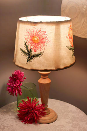 Free project instructions to make embroidered lamp shades.