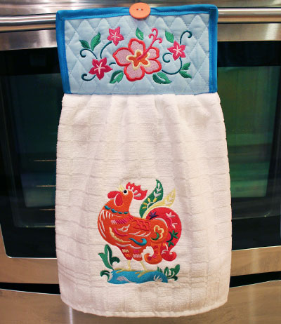 Free project instructions to embroider a no-slip dish towel.