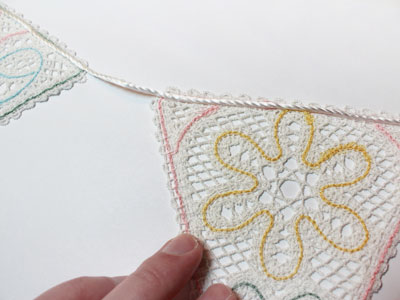 Free project instructions on how to embroider battenburg lace bunting.