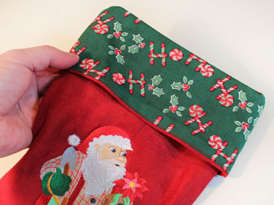 Free project instructions to make an embroidered classic Christmas stocking