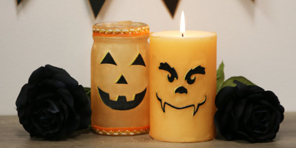 Free project instructions to create candy jar and candle wraps.