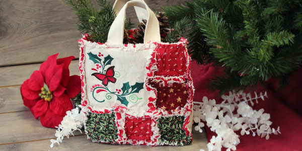 Free project instructions to make a rag quilt gift bag.
