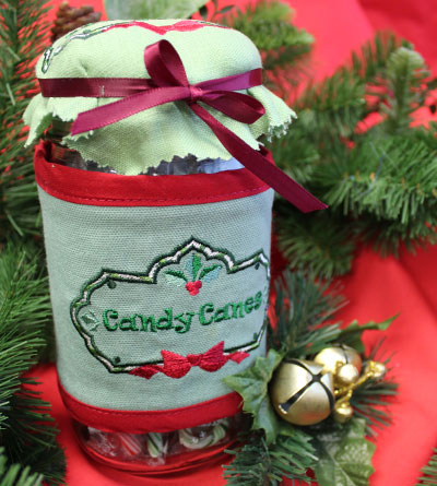 Free project instructions to make festive fabric jar wraps.