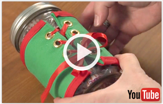 Free video with instructions on how to embroider canning jar tops and wraps.